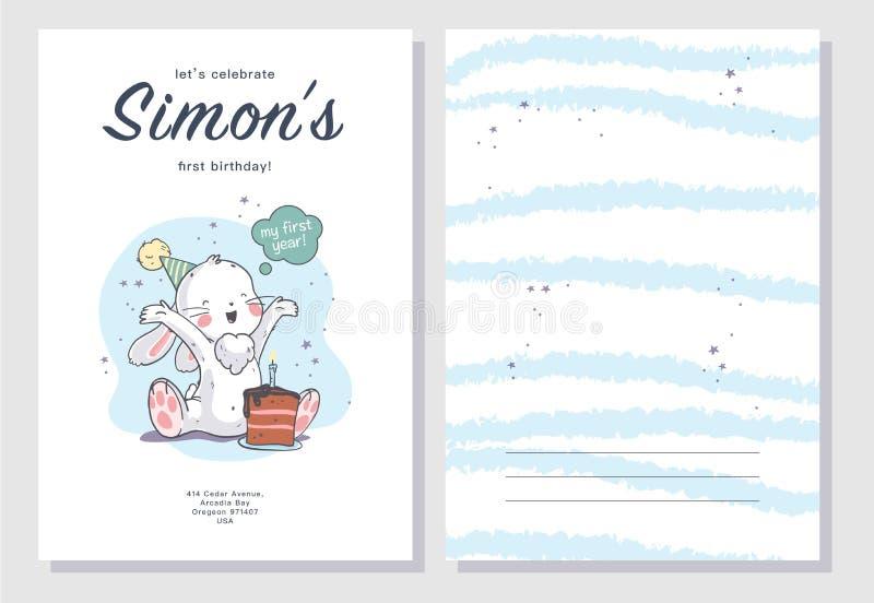Wektorowy dziecko prysznic projekta szablon Śliczna ręka rysujący mały chłopiec królika charakter ilustracja wektor