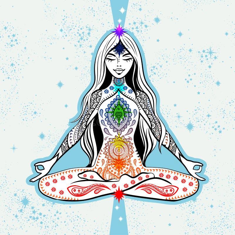 Wektorowy dziewczyny miejsca siedzące w medytacji z chakras Projekt dla joga maty, tshirt ilustracji