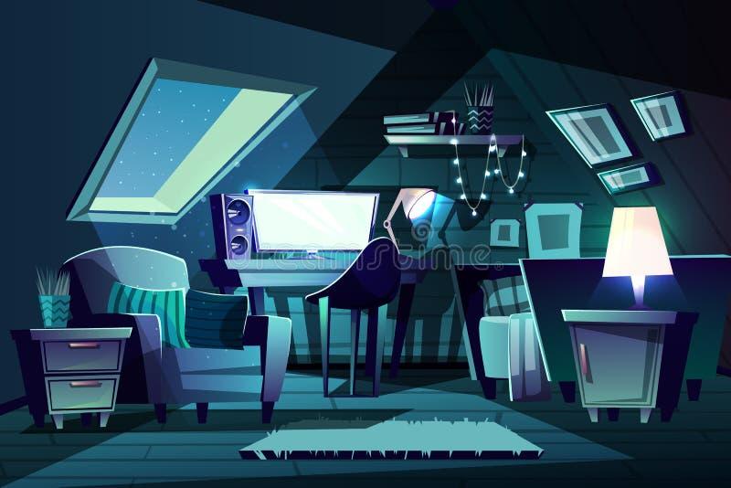 Wektorowy dziewczyny s pokój przy nocą Kreskówki mansardy sypialnia royalty ilustracja