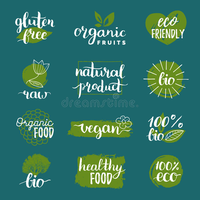 Wektorowy eco, logowie lub znaki, organicznie, życiorys, Weganin, zdrowe karmowe odznaki, etykietki ustawia dla kawiarni, restaur ilustracji