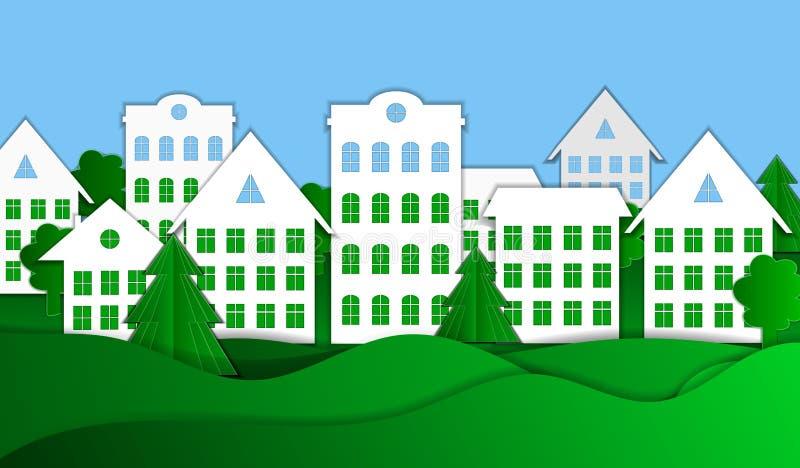 Wektorowy Eco miasteczka papieru sztuki stylu tło, Kolorowy Ilustracyjny szablon ilustracji