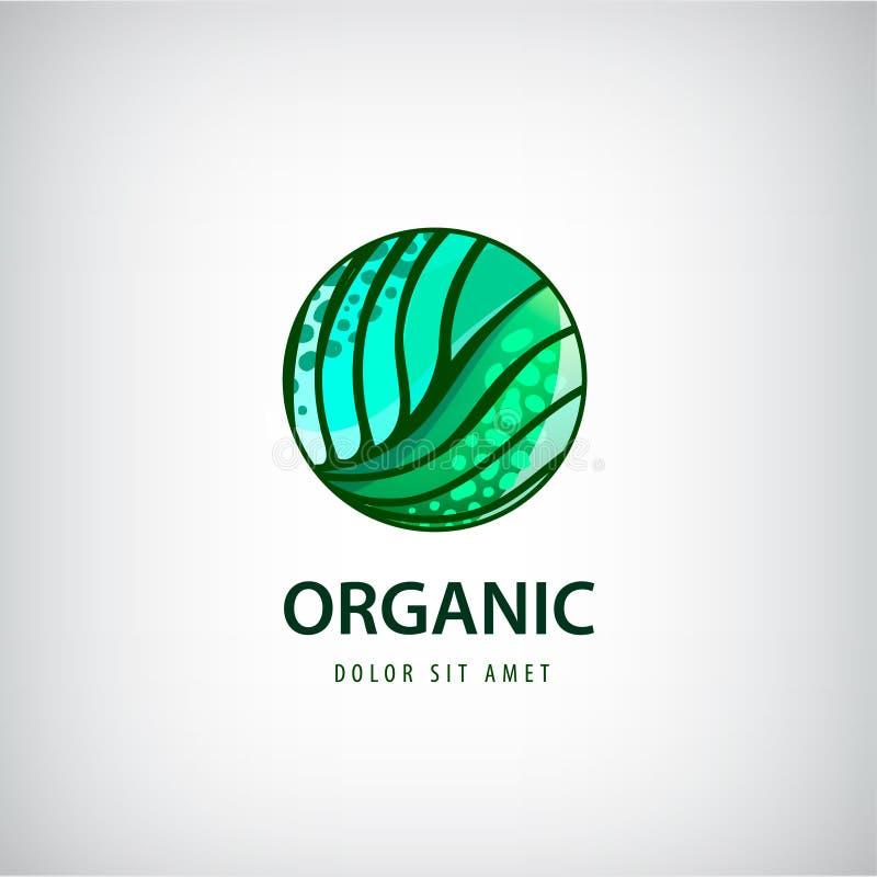 Wektorowy eco, organicznie, zdrowy naturalny karmowy logo, ikona royalty ilustracja