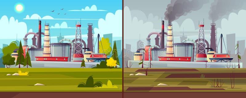 Wektorowy ekologii pojęcie kryzysu ekologiczny środowiskowy fotografii zanieczyszczenie Fabryczna roślina ilustracja wektor