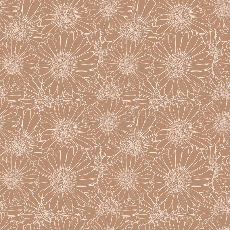 Wektorowy Elegancki Bezszwowy wzór z kwiatami, wyrzynanie wzór ilustracja wektor