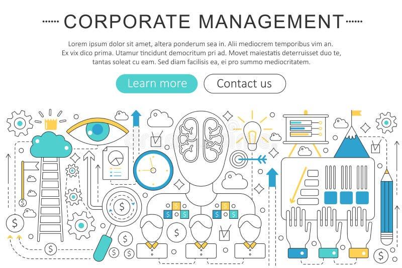 Wektorowy elegancki cienieje kreskowego płaskiego nowożytnego Korporacyjnego zarządzania przedsiębiorstwem pojęcie Strona interne ilustracja wektor
