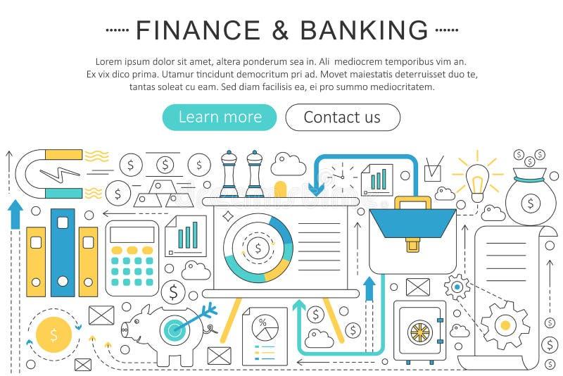 Wektorowy elegancki cienki kreskowy płaski sztuka współczesna projekta finanse bankowości inwestyci pojęcie Strona internetowa ch ilustracja wektor