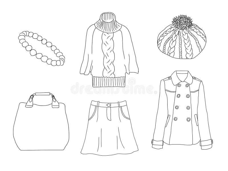 Wektorowy elegancki moda set kobiety ` s jesień, wiosna, zima lub akcesoria odzieżowi, Przypadkowy sylwetka strój z pulowerem, sk ilustracja wektor