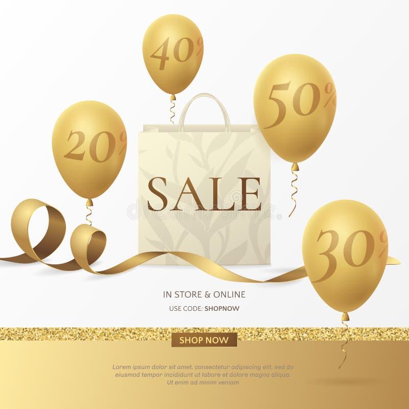 Wektorowy elegancki sprzedaż plakat z papierowym torba na zakupy, złotym faborkiem i balonami, ilustracja wektor