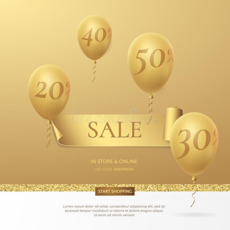 Wektorowy elegancki sprzedaż plakat z złotym faborkiem i balonami royalty ilustracja