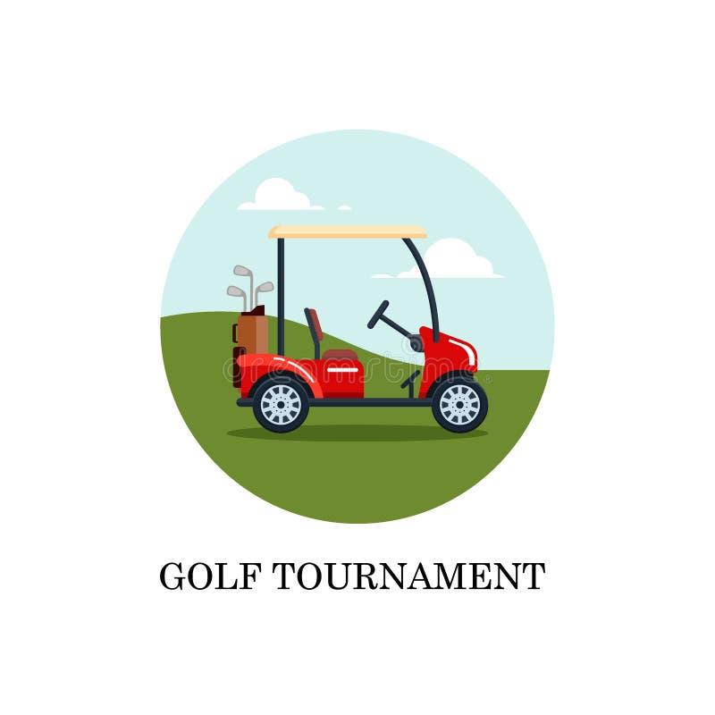 Wektorowy elektryczny golfowy samochód z kij golfowy torbą na polu z zieloną trawą Transport, vehile mieszkanie stylu ilustracja royalty ilustracja