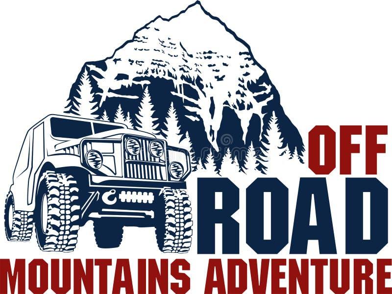 Wektorowy emblemat z 4x4 drogi samochodem i górami lasowymi ilustracji