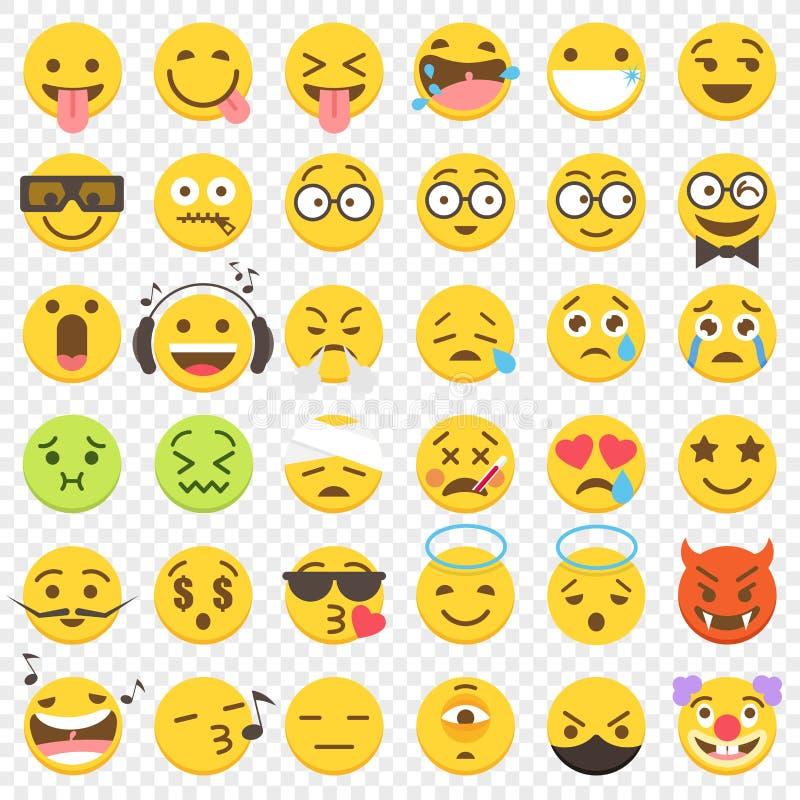 Wektorowy Emoji duży mieszkanie Ustawia 2 royalty ilustracja