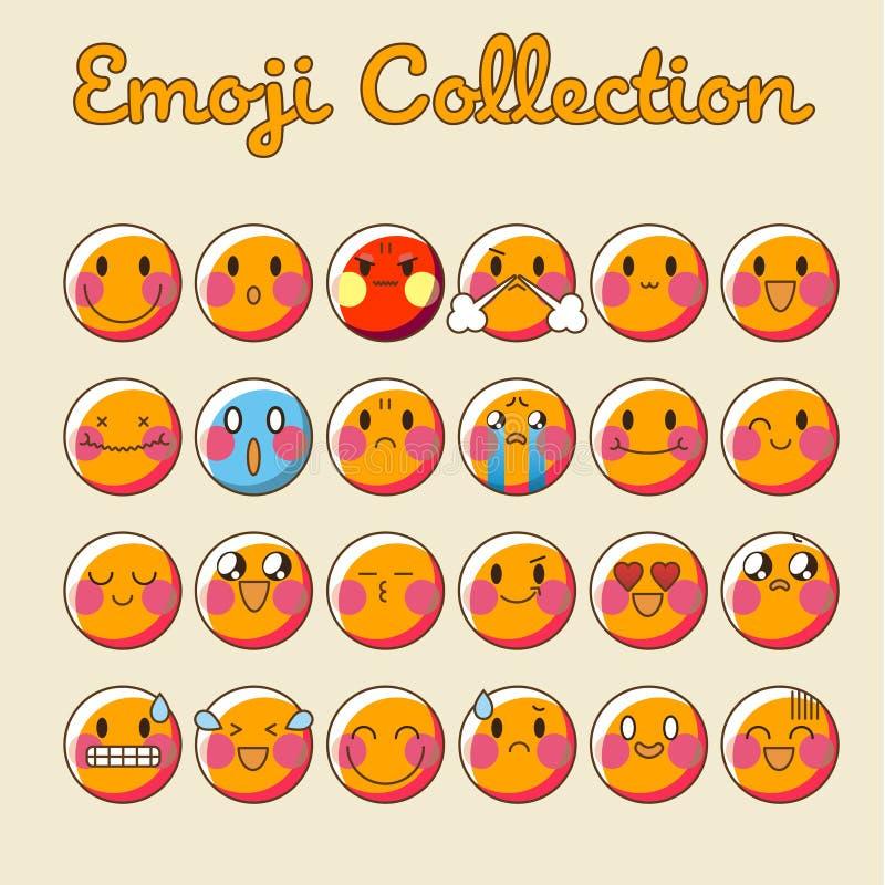 Wektorowy emoji set Emoticon ikony Emoji Płaska kolekcja - wektor royalty ilustracja