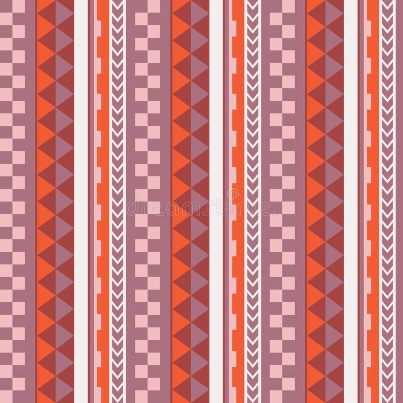 Wektorowy etniczny bezszwowy geometryczny prosty wzór w maoryjskim tatuażu stylu pomara?cz r??owy ilustracja wektor