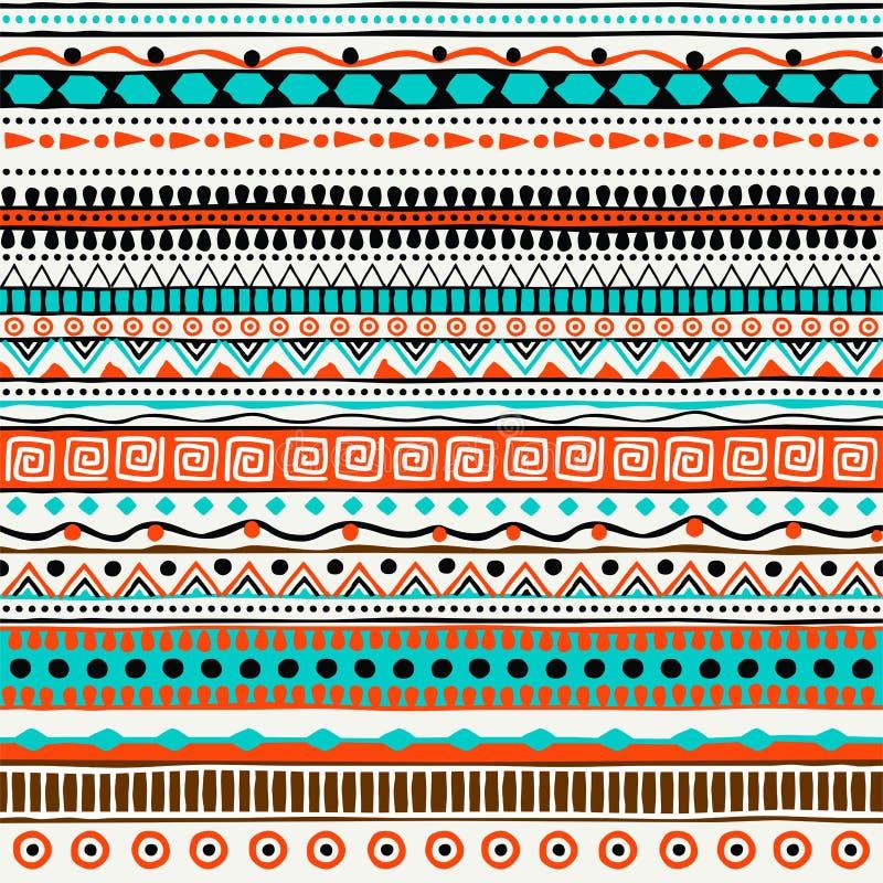 Wektorowy etniczny bezszwowy wzór Ręka rysujący plemienny pasiasty ornament ilustracji
