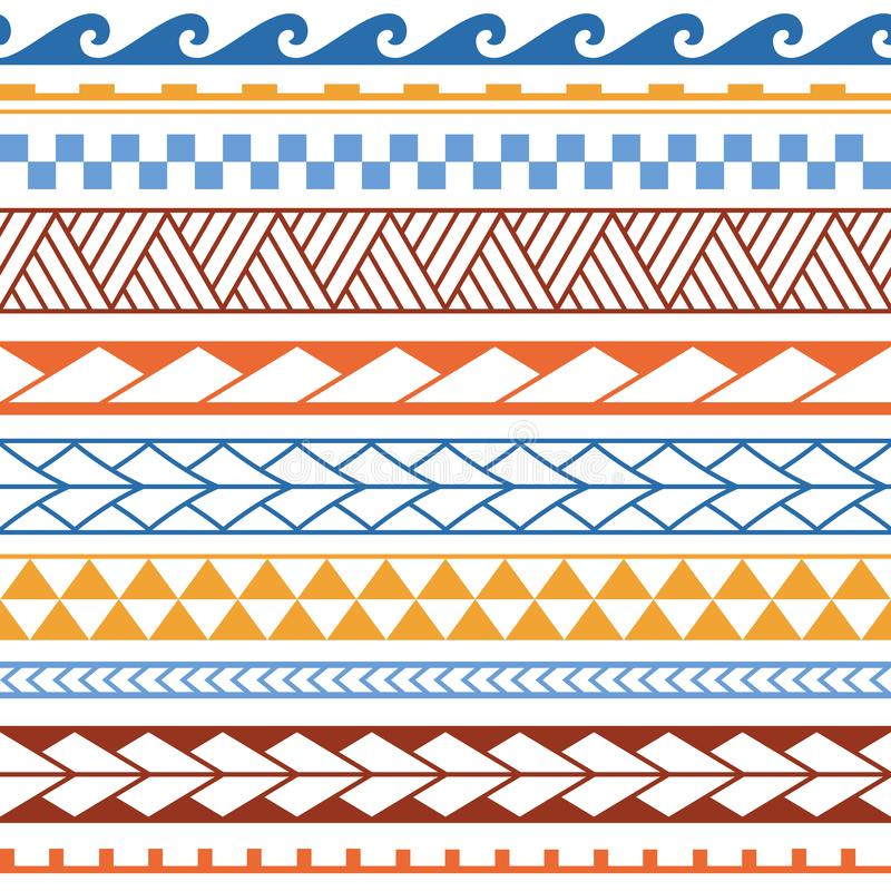 Wektorowy etniczny bezszwowy wzór w maoryjskim stylu Geometryczna granica z dekoracyjnymi etnicznymi elementami B??kita i pomara? royalty ilustracja