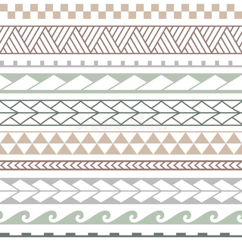 Wektorowy etniczny bezszwowy wzór w maoryjskim stylu ilustracji
