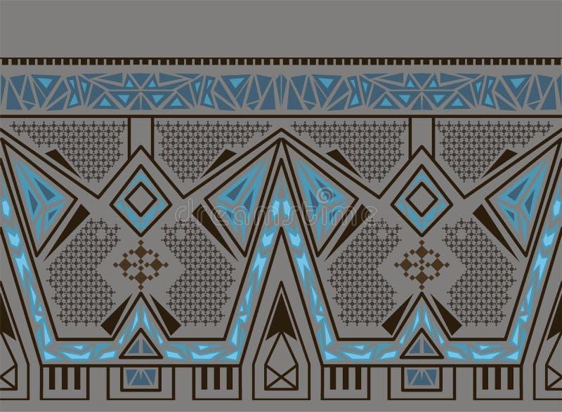 Wektorowy etniczny bezszwowy wzór z amerykańsko-indiański tradycyjnym ornamentem w błękitnych kolorach ilustracji