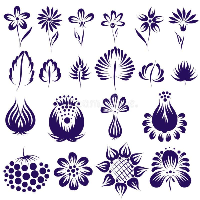 Wektorowy etniczny kwiatu set ilustracja wektor