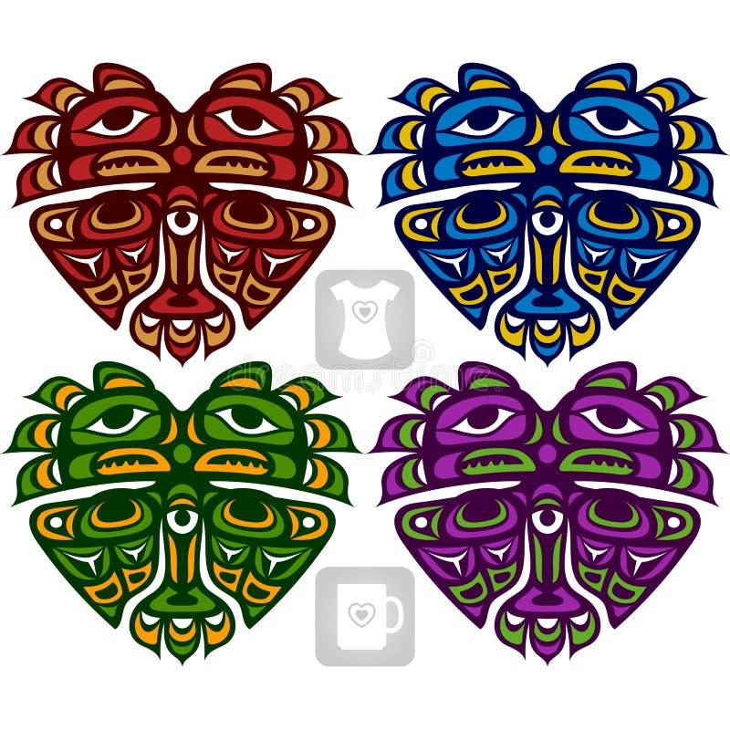 Wektorowy etniczny ornament w formie serca Amerykańscy indianie royalty ilustracja