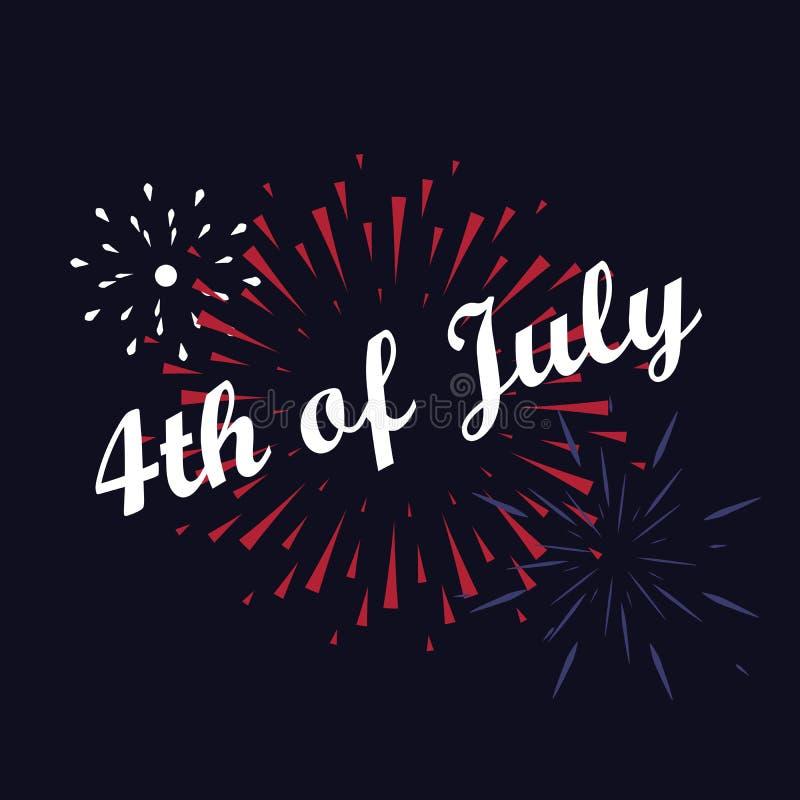 Wektorowy fajerwerk 4th Lipa amerykanina dzień niepodległości zdjęcia royalty free