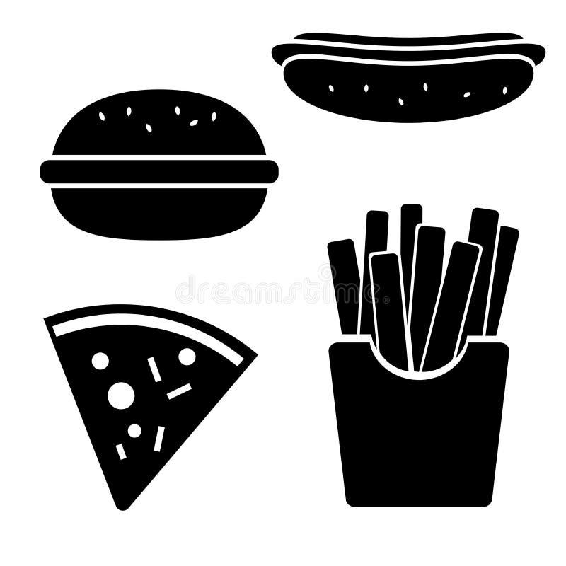 Wektorowy fast food ikony set zdjęcie stock