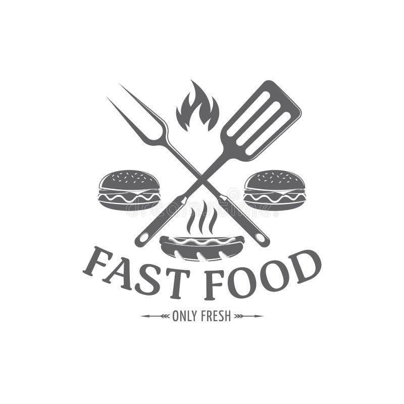 Wektorowy fasta food emblemat ilustracji