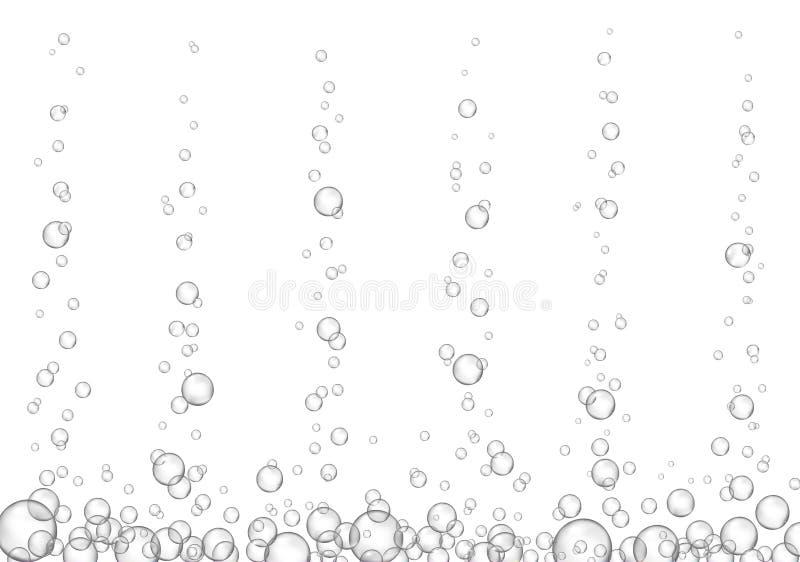 Wektorowy fizzy napoju strumień odizolowywający na białym tle Podwodnego tlenu bąbli fizzing tekstura ilustracji