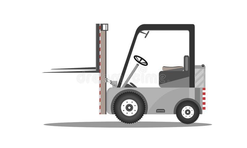Wektorowy forklift ciężarówki projekt z podnoszącym kartonem odizolowywającym na białego tła ikony zapasu ładowacza płaskiej ilus ilustracja wektor