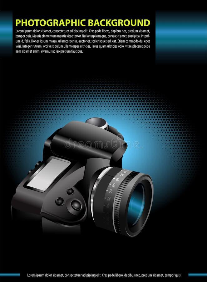 Wektorowy fotograficzny tło z kamerą w błękitnej łunie ilustracji