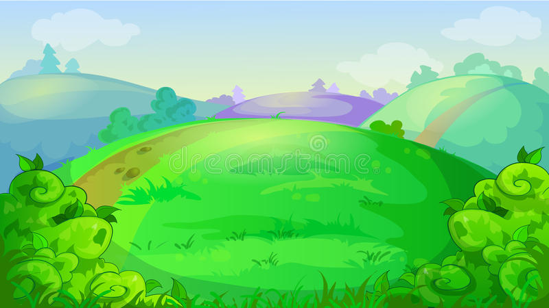 Wektorowy gemowy tło z łąką, wzgórzami i krzakami lata, ilustracji