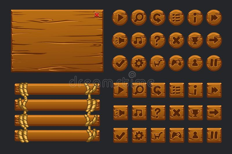Wektorowy gemowy ui duży zestaw Szablonu drewniany menu graficzny interfejs użytkownika GUI i guziki budować 2D gry ilustracja wektor