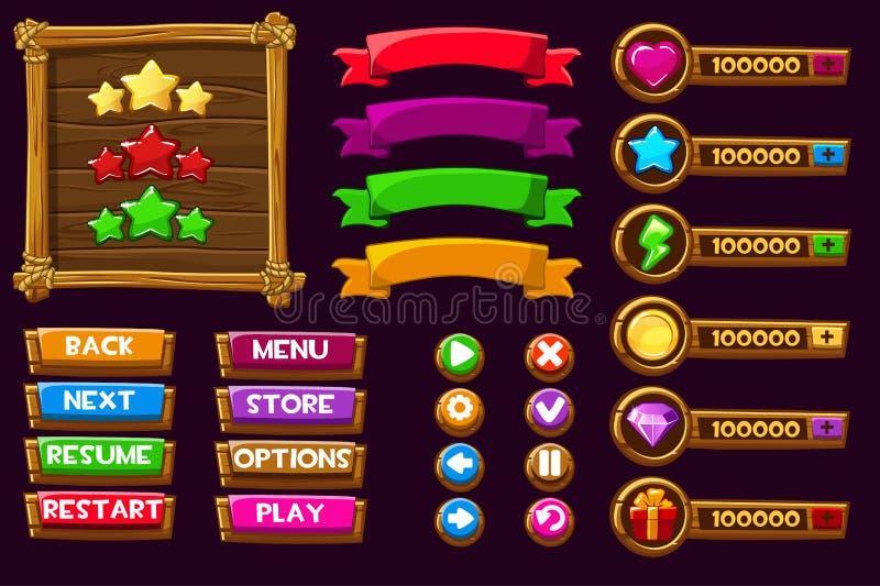 Wektorowy gemowy ui zestaw Zupełny menu graficzny interfejsu użytkownika GUI budować 2D gry Może używać w wiszącej ozdoby lub sie royalty ilustracja