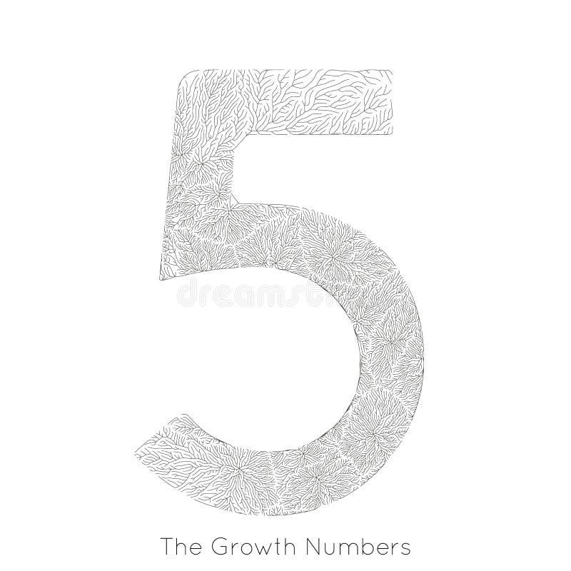 Wektorowy generatywny gałęziasty przyrost liczba 5 Liszaj jak organicznie struktura z żyły formy liczby kształtem Monocrome ilustracja wektor