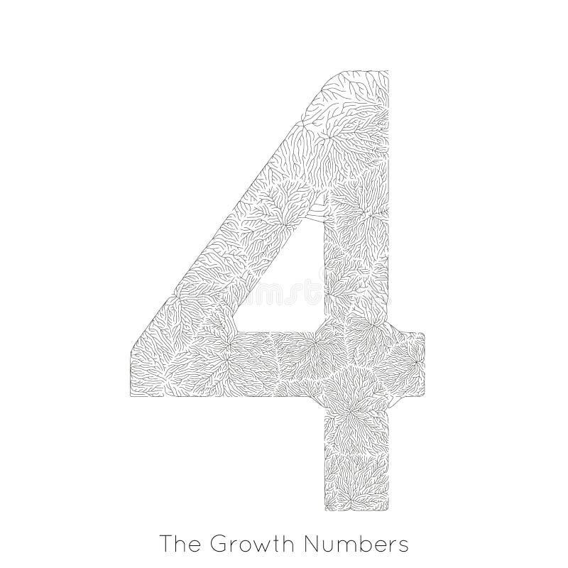 Wektorowy generatywny gałęziasty przyrost liczba 4 Liszaj jak organicznie struktura z żyły formy liczby kształtem Monocrome ilustracji