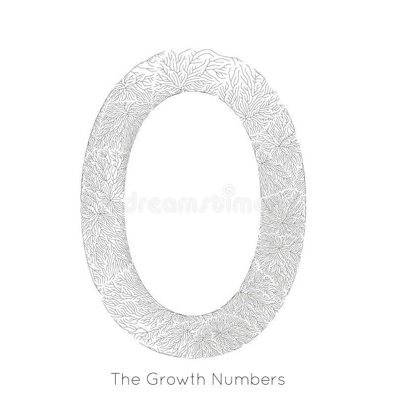 Wektorowy generatywny gałęziasty przyrost liczba (0) Liszaj jak organicznie struktura z żyły formy liczby kształtem Monocrome royalty ilustracja