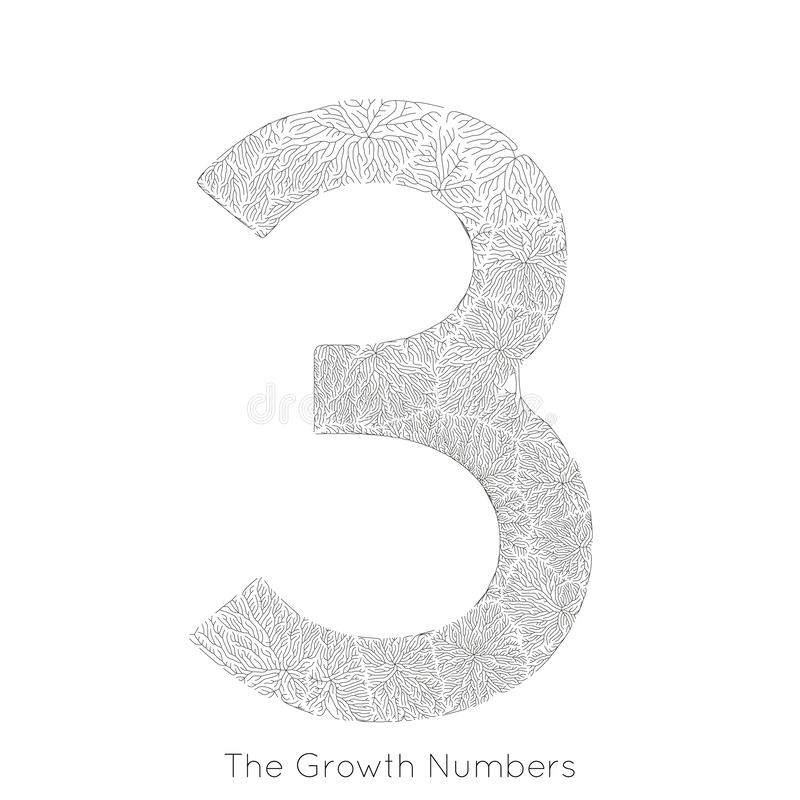 Wektorowy generatywny gałęziasty przyrost liczba 3 Liszaj jak organicznie struktura z żyły formy liczby kształtem Monocrome ilustracji