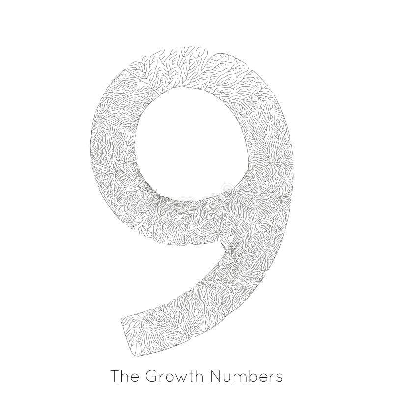 Wektorowy generatywny gałęziasty przyrost liczba 9 Liszaj jak organicznie struktura z żyły formy liczby kształtem Monocrome ilustracja wektor