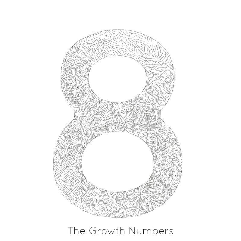 Wektorowy generatywny gałęziasty przyrost liczba 8 Liszaj jak organicznie struktura z żyły formy liczby kształtem Monocrome royalty ilustracja