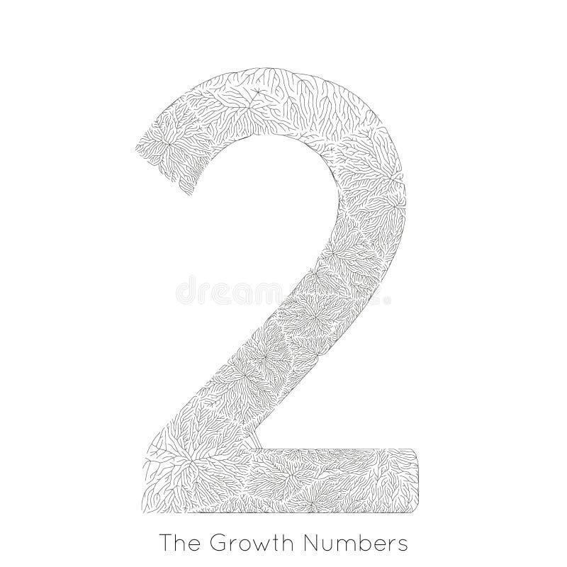 Wektorowy generatywny gałęziasty przyrost liczba 2 Liszaj jak organicznie struktura z żyły formy liczby kształtem Monocrome ilustracja wektor