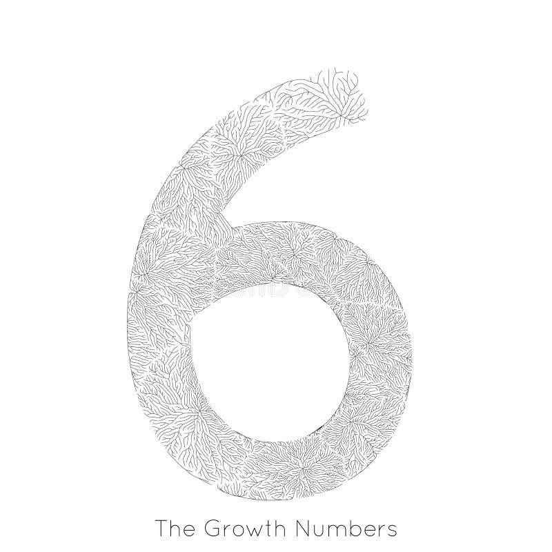 Wektorowy generatywny gałęziasty przyrost liczba 6 Liszaj jak organicznie struktura z żyły formy liczby kształtem Monocrome royalty ilustracja