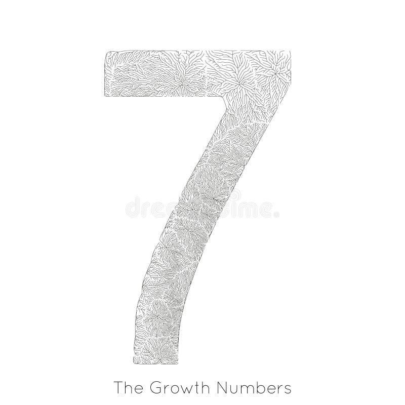 Wektorowy generatywny gałęziasty przyrost liczba 7 Liszaj jak organicznie struktura z żyły formy liczby kształtem Monocrome ilustracji