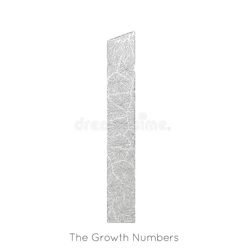 Wektorowy generatywny gałęziasty przyrost liczba 1 Liszaj jak organicznie struktura z żyły formy liczby kształtem Monocrome royalty ilustracja