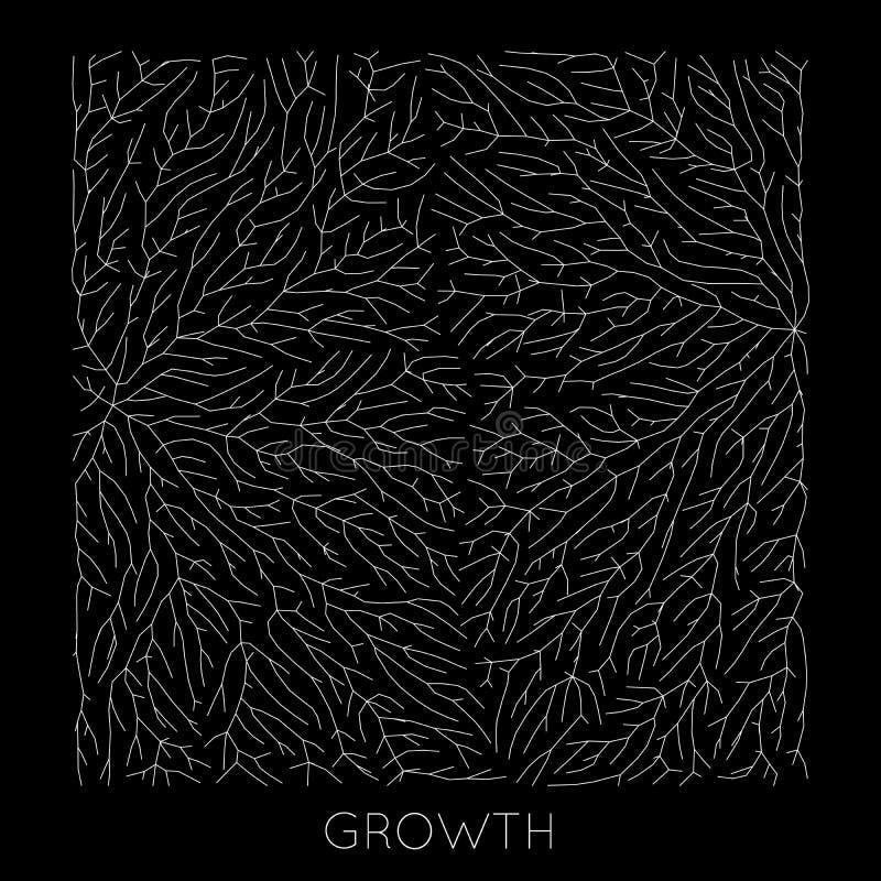 Wektorowy generatywny gałęziasty wzrostowy wzór Liszaj jak organicznie struktura z żyłami Monocrome kwadratowa biologiczna sieć ilustracja wektor