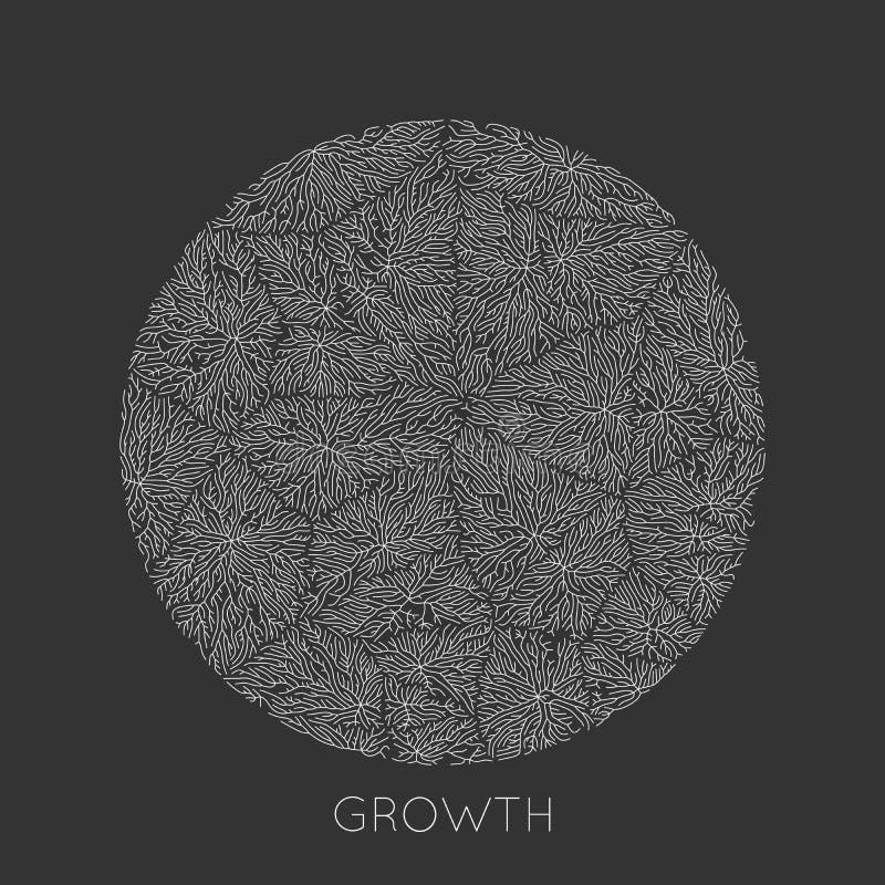 Wektorowy generatywny ga??ziasty wzrostowy wz?r Round tekstura Liszaj jak organicznie struktura z ?y?ami Monocrome round royalty ilustracja