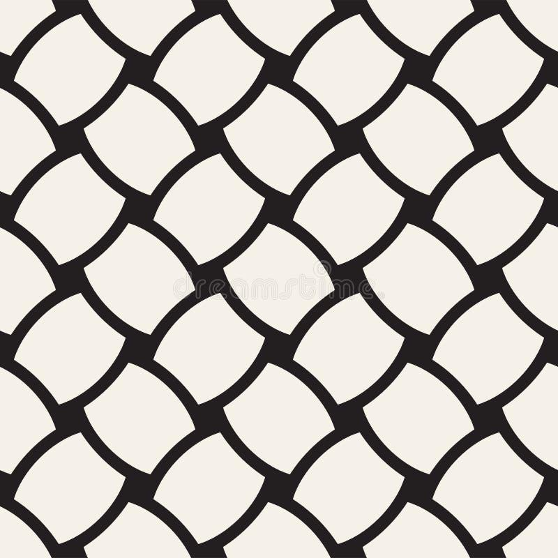 Wektorowy geometryczny bezszwowy wzór z wyginającą się kształt siatką Abstrakcjonistycznego monochromu kratownicy zaokrąglona tek ilustracji