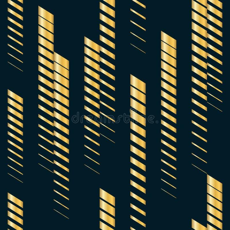 Wektorowy geometryczny bezszwowy wzór z złotymi pionowo fading liniami, lampasy ilustracji