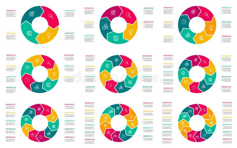 Wektorowy geometryczny infographic set Biznesowy pojęcie z opcjami, częściami, krokami lub procesami 4, 5, 6, 7, 8, 9, 10, 11, 12 ilustracja wektor