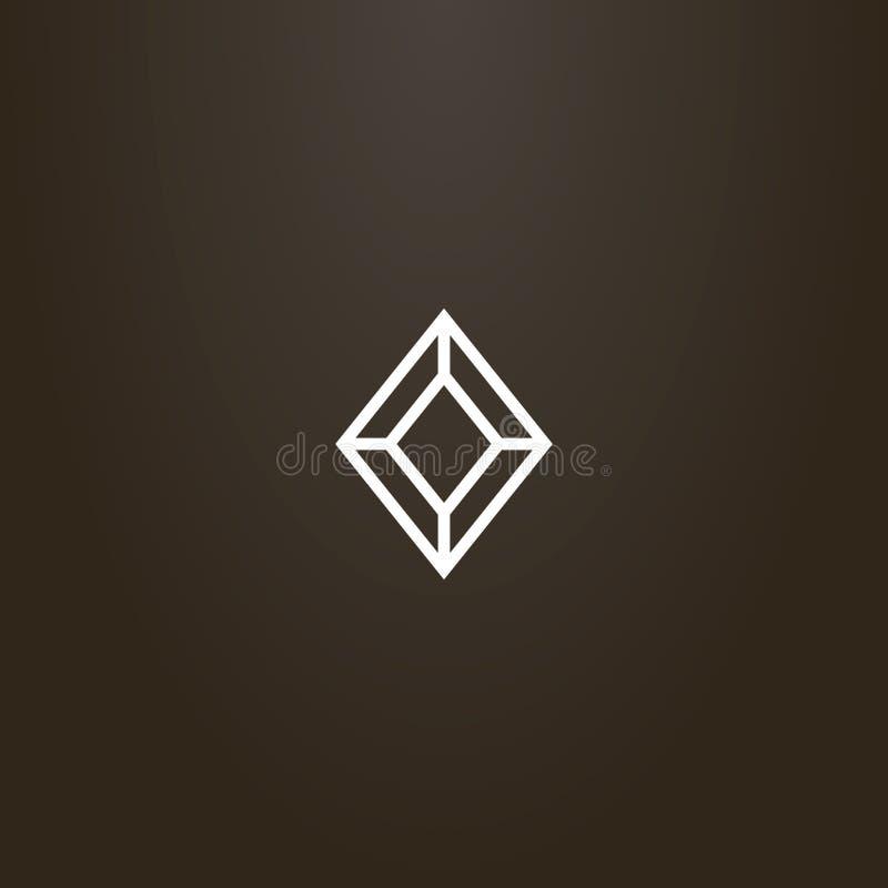 Wektorowy geometryczny kreskowej sztuki znak diamentowy kształta gemstone ilustracji