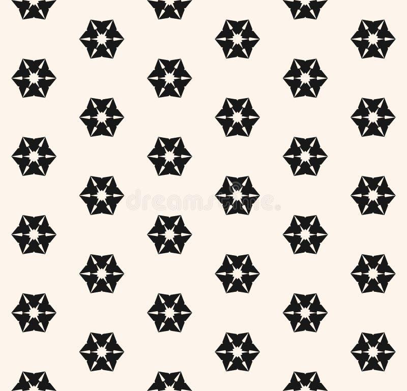 Wektorowy geometryczny kwiecisty bezszwowy wzór Abstrakcjonistyczny czarny i biały tło royalty ilustracja